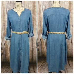 Norm Thompson Chambray Button Front Shirt Dress